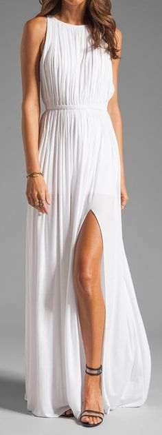 Simple long white flowy maxi dress...with brown, knee high boots this could be a bridesmaids outfit!