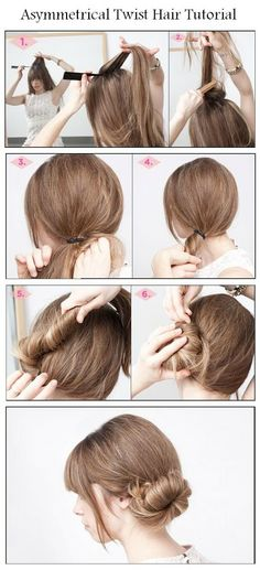 DIY Asymmetrical Twist Hair Hairstyle