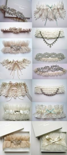 "garters-- gorgeous!  like a ""tiara"" for your leg!  still have a bronco one to throw off for the eligible bachelors!"
