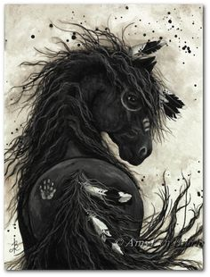 Battle Horses Paintings | Friesian Black Horse Native American Feathers War Paint BiHrLe Print 8
