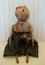 Primitive Grungy Snow Lady Snowman Christmas Doll & Her Kitty Cat
