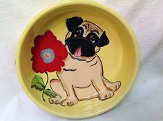 Pug 6 Dog Bowl for Food or Water Personalized at no Charge Signed by Artist Debby Carman >>> Want to know more, click on the image.(This is an Amazon affiliate link and I receive a commission for the sales)