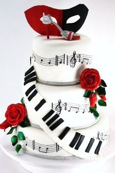 Love the piano/music combination @Blake Simmons  Amazing for a grooms cake maybe KKpsi symbol instead of roses