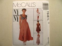 Vintage McCalls 7646 Sewing Pattern - Never Used - Misses Size 10 NY NY The Collection Dress Pattern - Vintage Sewing Supplies Dress Pattern