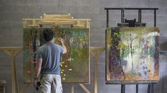 Working on two new paintings in the studio