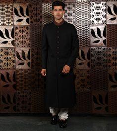 Matka by at Rohit Bal, Wedding Sherwani, Indian Ethnic, Black Silk, Creative Design, Menswear, Culture, Formal, Classic