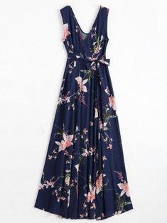 Maxi Robe Cache-Coeur Florale à Fente Élevée Avec Ceinture - Bleu Violet S