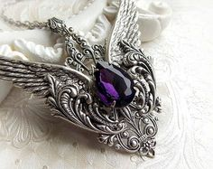 Winged gothic necklace medieval gothic fantasy necklace purple jewel pendant victorian amethyst purple crystal pendant ornate necklace $60 etsy