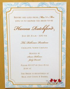 Bridal shower invitation with a vintage feel.  The colors are pale blue and antique gold