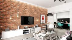 Salon styl Industrialny - zdjęcie od PEKA STUDIO - Salon - Styl Industrialny - PEKA STUDIO Brick Wall Tv, Brick Wall Kitchen, Brick Interior, Interior Walls, Home Office Design, House Design, Exposed Brick Walls, Industrial Apartment, Family Room