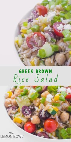 This brown rice salad is given a Greek twist with roasted cherry tomatoes, crunchy cucumbers, creamy feta, and kalamata olives. An easy and healthy cold rice salad your entire family will love. Rice Salad Recipes, Rice Recipes For Dinner, Healthy Salad Recipes, Vegetarian Recipes, Healthy Brown Rice Recipes, Potato Recipes, Brown Rice Salad, Cold Rice Salad, Healthy Rice