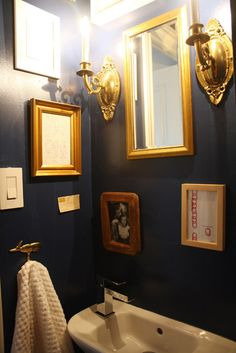 Justine & Angus : Justine & Angus : Apartment Therapy - dark blue walls and gold frames