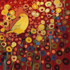 Animals Painting - Canary In Red by Jennifer Lommers