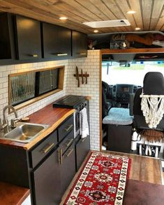 This Converted Sprinter Van is a Surprisingly Livable Tiny House on Wheels - Van Life Minivan Camper Conversion, Conversion Van, Van Conversion Interior, Van Conversions Ideas, Van Conversion Kitchen, Van Conversion Campervan, Motorhome Conversions, Sprinter Van Conversion, Van Life