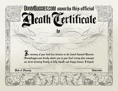 A basic printable birth certificate with an elaborate historic font doombuggies death certificate at doom buggies sadly disneyland no longer hands out these yadclub Image collections