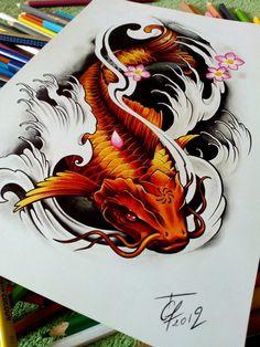 Dragon Koi Tattoo Design, Koi Dragon Tattoo, Japan Tattoo Design, Octopus Tattoo Design, Tattoo Design Drawings, Pez Koi Tattoo, Coy Fish Tattoos, Koi Tattoo Sleeve, Japanese Sleeve Tattoos