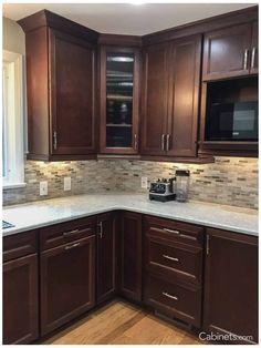 Backsplash With Dark Cabinets, Dark Kitchen Cabinets, Kitchen Redo, Home Decor Kitchen, Kitchen Backsplash, Home Kitchens, Kitchen Ideas, Backsplash Ideas, Backsplash Design