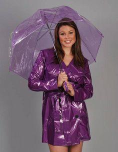 Purple PVC Raincoat & Umberella