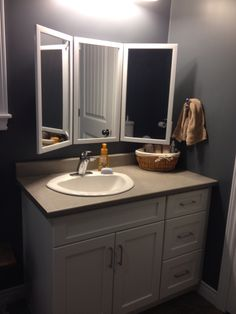 Photo On DIY folding tri view mirror that my husband made for me in our master bathroom