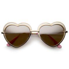 Women's Metal Cutout Frame Thin Temple Cutout Heart Sunglasses 55mm