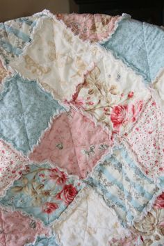 Baby Girl Rag Quilt Shabby Chic French Country Ready by justluved