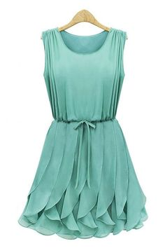 The chiffon dress featuring pleated top, ruffled skirt. Round neck. Sleeveless. Drawstring detail. Lined. In a regular fit.