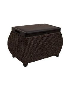 Crafted Woven Recycled Paper Curved Storage Bench/trunk