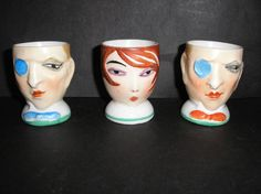 Art Deco Goebel Flapper Girl Dandy Egg Cups - these look like something out of Cabaret.  Extremely disturbing.