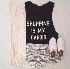 graphic tee, sweater, patterned shorts
