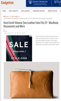Hard Graft Volume Two Leather Folio Fits MacBook, Documents and