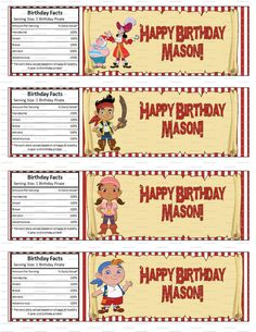Jake and the Neverland Pirates Birthday Party Water Bottle Labels $2.99