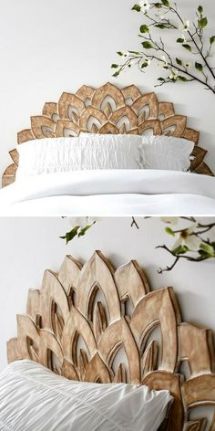 Add a timeless dash of style with this incredible Wood Carved Faux Headboard! (Affiliate) || http://shopstyle.it/l/btaQ || Bedroom ideas, Bedroom ideas Master, Bedroom ideas For women, Bedroom ideas Grey, Bedroom ideas For couples, Bedroom decor, Bedroom decor For couples, Bedroom
