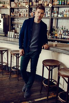 Trying to perfect a warm and sophisticated gift for him this holiday season? Try our Todd & Duncan cashmere sweater paired with the textured Filpucci Italian wool pullover. They go well with dark wash jeans and boots for a comfy yet polished gift pairing. See more at Esquire's Well-Spirited Gift Guide   Banana Republic - Esquire
