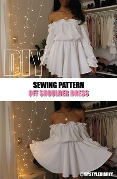 Wonderful Absolutely Free sewing dresses off shoulder Popular off the shoulder dress sewing pattern on Etsy, Diy off the shoulder dress, how to make an off the Diy Clothes Refashion, Diy Clothing, Sewing Clothes, Refashion Dress, Dress Sewing Patterns, Clothing Patterns, Pattern Sewing, Pattern Dress, Fashion Sewing