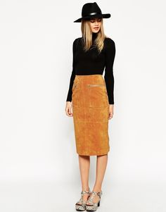 Image 1 of ASOS Midi Pencil Skirt In Suede With Pockets And Curved Zip