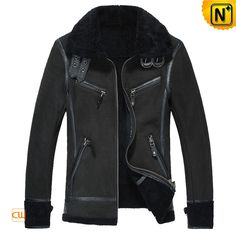 Cool black sheepskin bomber jacket for men, warm fighter pilots style shearling sheepskin bomber jacket! Added leather neck strap for cinching the collar and lamb fur are striking attached to cuffs and bottom fringes of this bomber jacket! Black Shearling Jacket, Leather Jacket, Fur Jacket, Jacket Style, Revival Clothing, Sheepskin Jacket, How To Look Handsome, Black Bomber Jacket, Winter Jackets