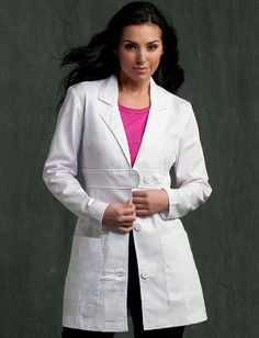8617 Lab Coat - Peaches Uniforms from Scrub Couture Poly Cotton Twill belted waist detail lab Princess seams and bust darts Back waist inset with button tab and shirring Patch pockets 4 - 20 Doctor White Coat, Doctor Coat, Scrubs Uniform, Spa Uniform, Stylish Scrubs, Scrub Jackets, Lab Coats, Medical Scrubs, Womens Fashion For Work