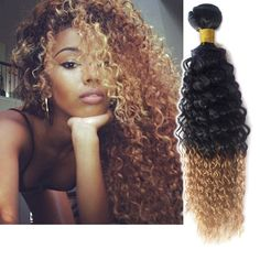 """3Bundles 12""""14""""16""""Ombre Curly Wave Human Hair Extension 1B/27# 6A Hair Wefts #wigiss #HairExtension"""