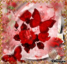 Red Butterflies -- Roses and Sparkle