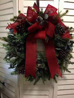 Farmhouse Christmas XL Buffalo Red Burlap Wreath New Custom  | eBay