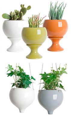 Stoneware hanging & tabletop planters from J Schatz