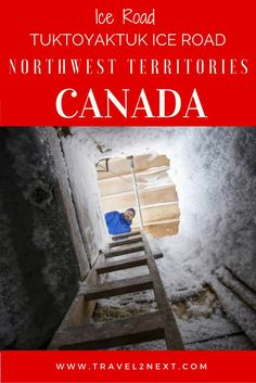 Tuktoyaktuk Winter Road travels across the frozen channels of the Mackenzie River delta and the Arctic Ocean from Inuvik to Tuk in the Northwest Territories of Canada.:
