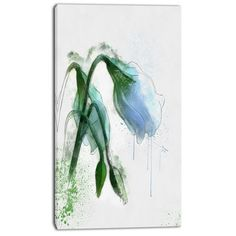 DesignArt 'Green Tulip Sketch Watercolor' Painting Print on Wrapped Canvas Size: