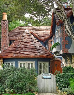 Carmel-By-The-Sea, California:  Windamere is a lovely cottage in many respects- but no one can deny that the roof is just outstanding. Shingle thatch is the technique of using cedar shingles to recreate the texture and look of a reed-thatched roof.