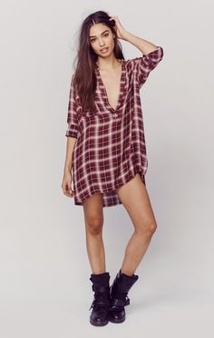 VINTAGE DISTRESSED PLAID SHIRT DRESS