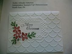 Card 6 - August 2014 Kathy's Stamp Camp SU Striped Scallop Die, Fun Frames EF and Petite Petals stamp and Punch