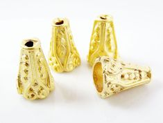 4 Dotted Cone Bead End Caps   22k Matte Gold by LylaSupplies, $6.90