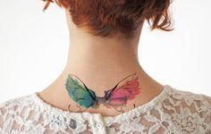 Tattoos - Alas acuarela - Tatuaje temporal XL - hecho a mano en DaWanda.es