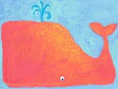 such vibrant colors! whimsical whale art