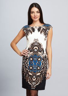 I want this dress so badly! The print and colors are so beautiful. (Maggy London)